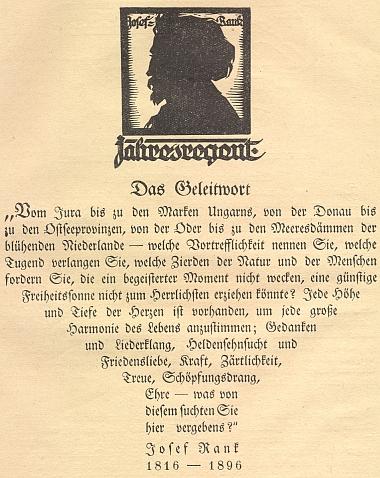 Rankův stínový portrét od Rudolfa Mathera (1891-1975) provází text, který je oslavou zemí, kde všude zdávna žili lidé německé řeči