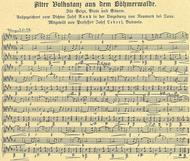Záznam šumavského tance s doprovodem houslí, violy a kytary, jak ho kdysi zaznamenal v okolí Všerub