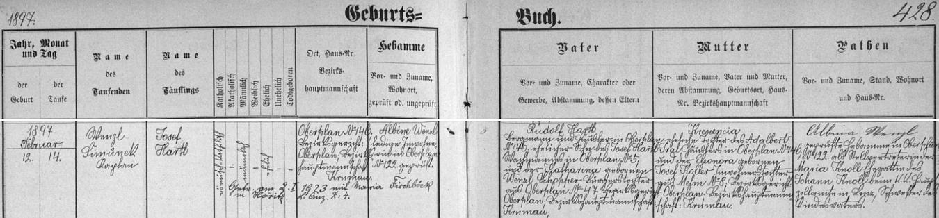 Záznam křestní matriky farní obce Horní Planá o narození jejího otce Josefa Hartla 12. února 1897