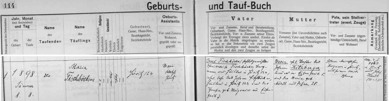 Záznam křestní matriky farní obce Hořice na Šumavě o narození její maminky Marie 8. ledna 1898 v Hořicích