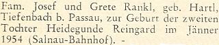 Blahopřání rodině Ranklově k narození druhé dcery Heidegunde Reingard v lednu roku 1954 na stránkách krajanského měsíčníku