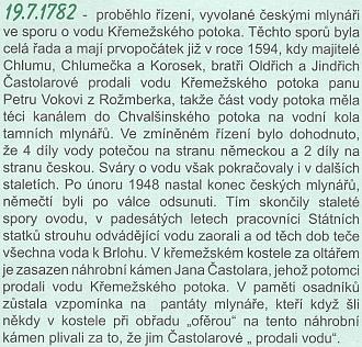 """Měsíčník Křemežsko se v historickém kalendáři vrátil ke sporu o """"prodanou vodu"""""""