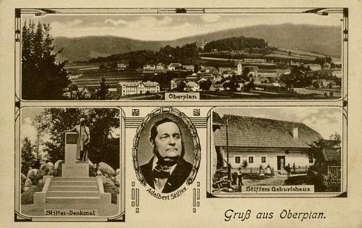 Pohlednice Horní Plané z počátku 20. století zachycuje i Stifterův pomník