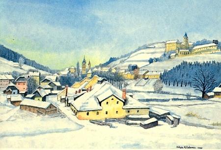 Zimní Vimperk, v popředí se starou sklárnou, na akvarelu WilhelmaKotschwary
