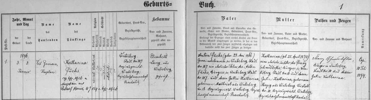 Záznam vimperské matriky o jejím narození v rodině obecního úředníka Antona Fuchse (ten se narodil 24. května roku 1866 jako syn zdejšího měšťana Antona Fuchse a jeho ženy Kathariny, roz. Matheislové, rovněž z Vimperka) a jeho manželky Kathariny, narozené 25. dubna roku 1875, dcery Franze Schneedörfera, měšťana ve Vimperku, a jeho ženy Kathariny, roz. Herzigové z Vimperka-předměstí - přípis zpravuje i o svatbě s Rudolfem Rauschem v Novém Světě (Neugebäu) dne 6. května roku 1926