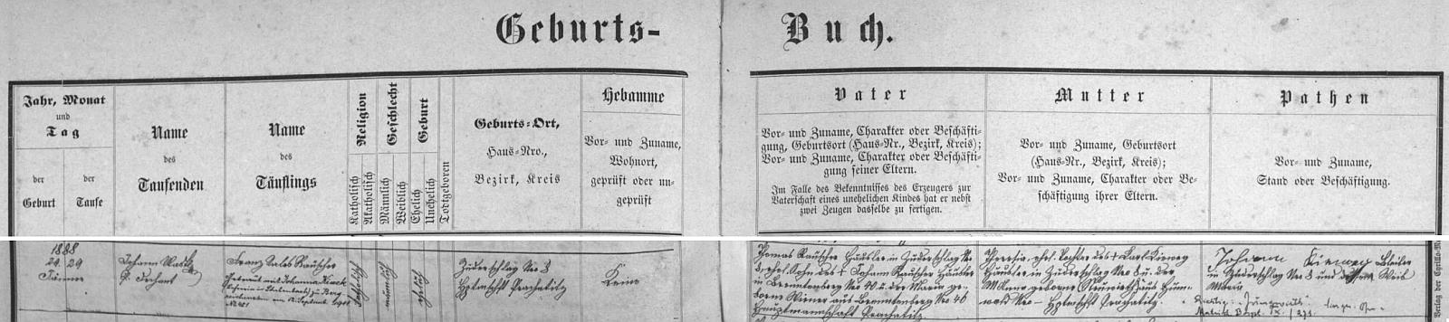 Záznam o jeho narození v Cudrovicích na stránkách křestní matriky obce Záblatí