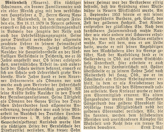 Autorem nekrologu na stránkách krajanského měsíčníku byl Ernst Tragl