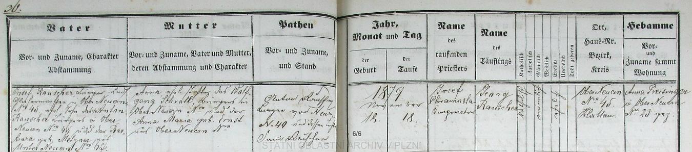 Podle tohoto záznamu v nýrské křestní matrice narodil se 18. listopadu roku 1879 v hornonýrském domě čp. 45 a byl v kostele sv. Tomáše téhož dne i pokřtěn kooperátorem Josefem Chramostou - otec Josef Rauscher, měšťan a mistr sklenářský v rodném stavení chlapcově, byl synem Antona Rauschera ze stejného čp. 45 a Barbary, roz. Metznerové z Dolního Nýrska (Unterneuern) čp. 67, novorozencova matka Anna byla dcerou Wolfganga Schralla a Anny Marie, roz. Ernstové, obou z Horního Nýrska (Oberneuern) - děd Anton je tu i podepsán jako kmotr dítěte