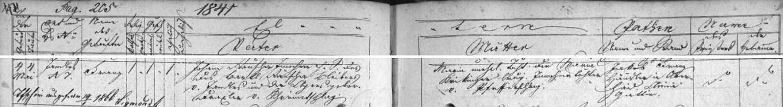 Zápis křestní matriky farní obce Zbytiny o narození prapraděda Franze Rauschera v Jandles 4. května roku 1841