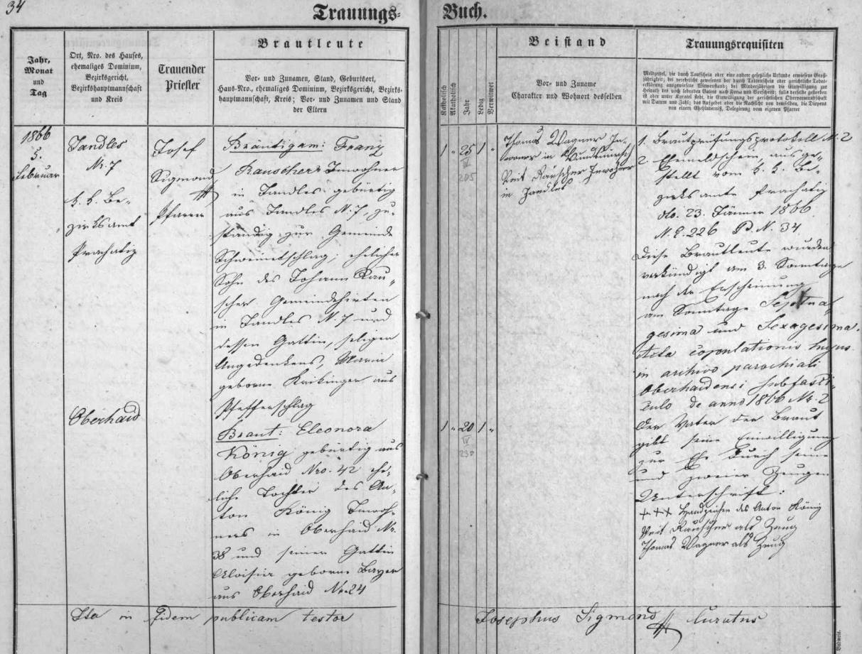 Oddací matrika farní obce Zbytiny obsahuje i tento zápis o zdejší svatbě jeho prapraděda Franze Rauschera s Eleonorou, roz. Königovou