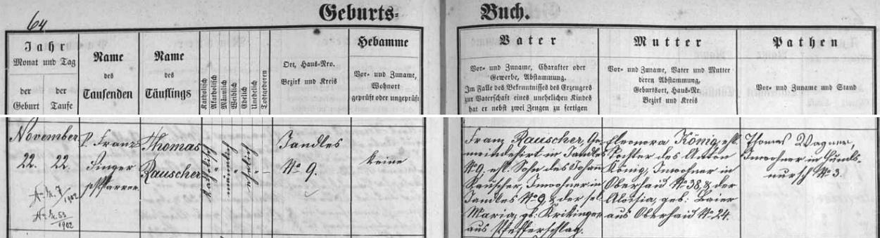 Záznam zbytinské křestní matriky o narození praděda Thomase Rauschera v Jandles čp. 9