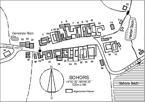Plánek obce Žár se jmény někdejších majitelů i zaniklých jejích stavení