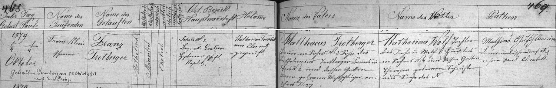 """Záznam žumberské křestní matriky o narození otcově (příjmení je tu psáno """"Trotberger"""") s pozdějším přípisem o jeho svatbě s Evou Prinzovou zPěčína u Žumberku"""