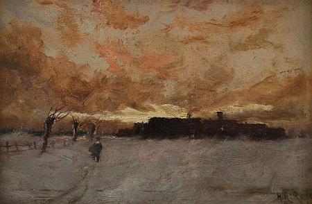 Tato olejomalba jeho synovce Heinricha Richarda Redera (1862-1942) nese název Ves v zimní krajině za večerního slunce