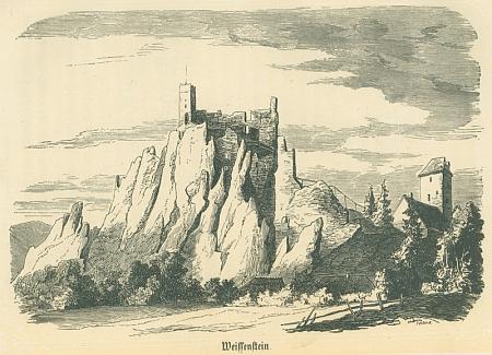 Dřevoryt se znázorněním hradu Weissenstein v Bavorském lese z druhého vydání jeho knihy Der Bayerwald (1865)