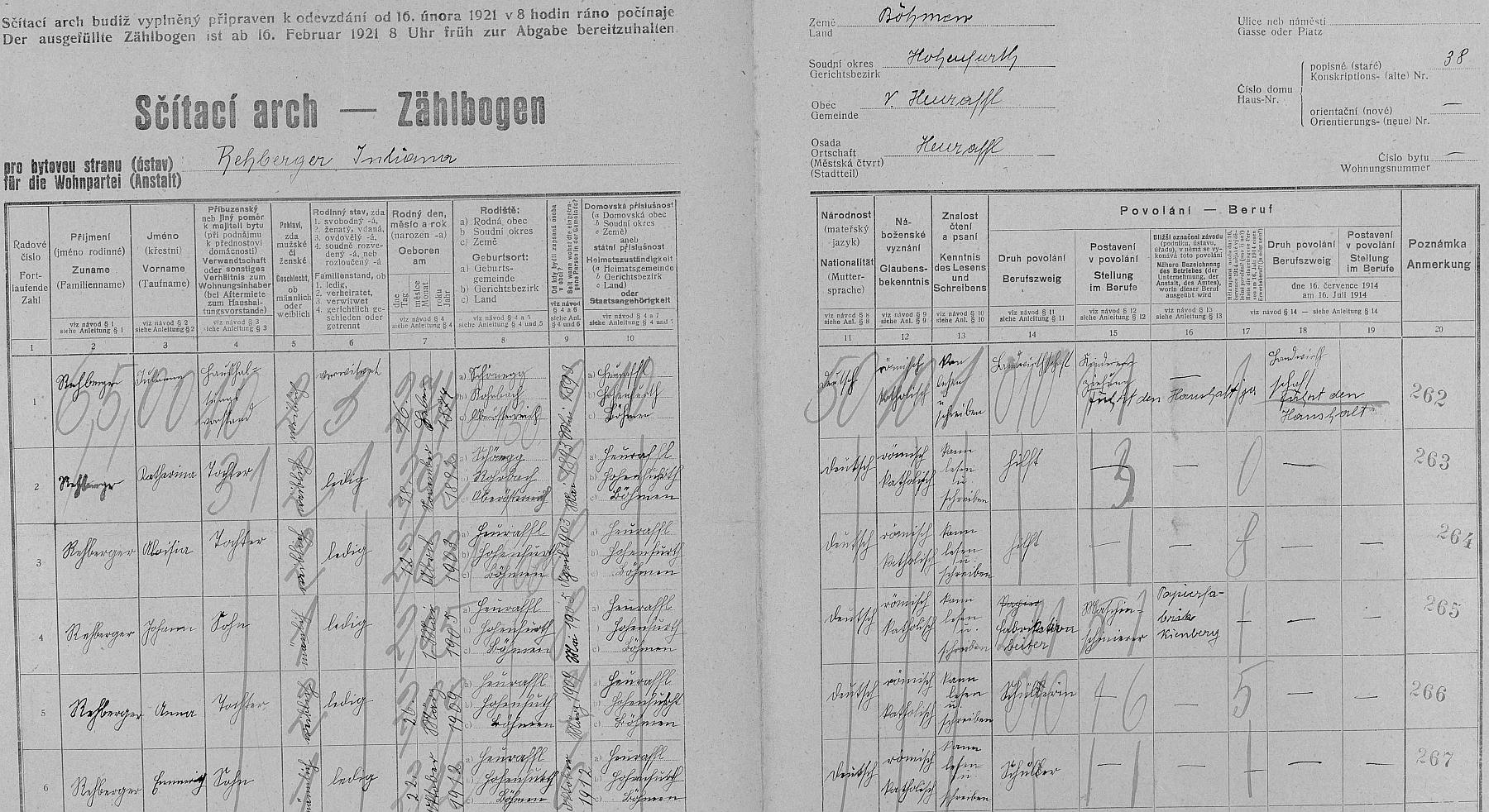 Arch sčítání lidu z roku 1921 pro stavení čp. 38 v Přední Výtoni s už ovdovělou Julianou Rehbergerovou a jejími dětmi, mezi nimiž Karlův otec ajmenovec chybí