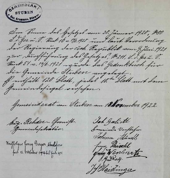 Jeho podpis v hůrecké kronice, kterou vedl jako obecní tajemník