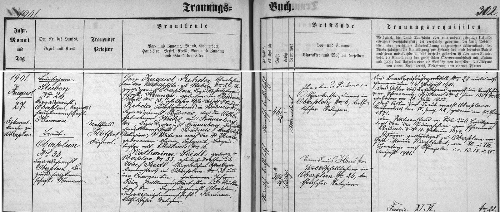 Podruhé se podle tohoto záznamu hornoplánské oddací matriky ženil v roce 1901 s Katharinou Seidlovou, dcerou zdejšího jircháře Josefa Seidla a Crescentie, roz. Geierové, mlynářské dcery z Huťského Dvora (Hüttenhof)