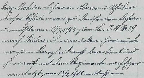 Hůrecká školní kronika zaznamenává synovo nasazení v první světové válce