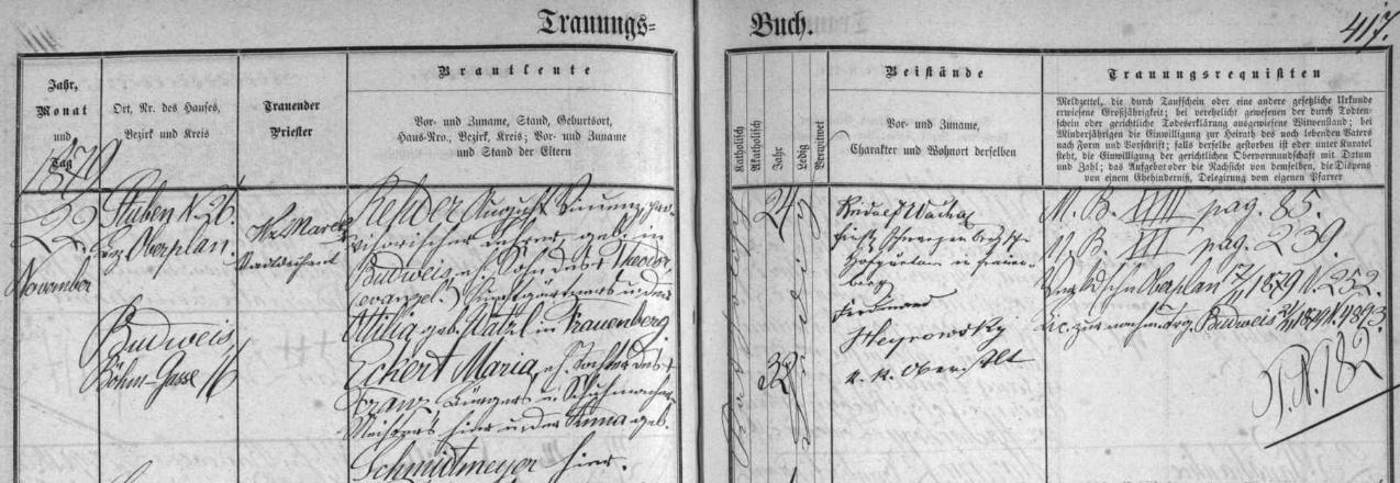 Záznam o jeho první svatbě v českobudějovické oddací matrice