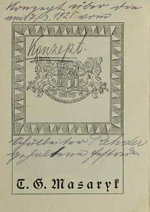 Titulní list tisku k 75. výročí narození TGM, vložený do školní kroniky, a označený panem řídím Rehderem jako koncept jeho slavnostní řeči