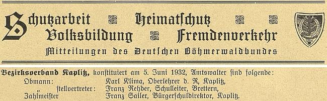 Mezi funcionáři Deutscher Böhmerwaldbund za okres Kaplice
