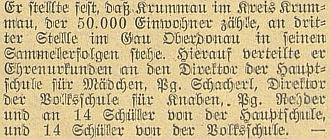 """V úryvku článku Richarda Wondry z roku 1941 už o něm čteme jako o """"Parteigenosse"""" Rehderovi, řediteli německé chlapecké školy v Krumlově"""
