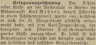 Zpráva o jeho válečném vyznamenání na stránkách českobudějovického německého listu