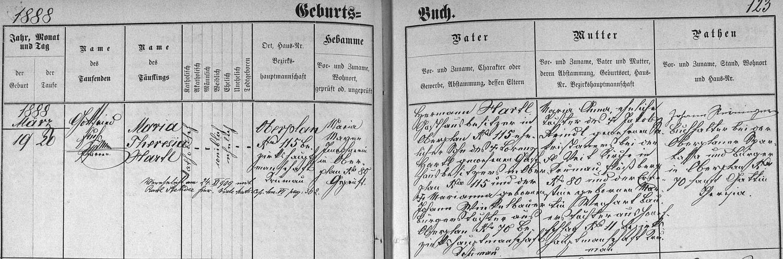 Záznam hornoplánské křestní matriky o zdejším narození jeho ženy