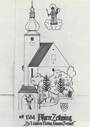 Jeho kresba je návrhem na rodáckou korouhev farnosti Cetviny