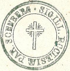 Razítko farního úřadu v Žumberku z roku 1876