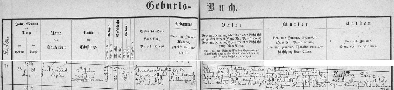 Záznam o jeho narození v křestní matrice farní obce Záblatí