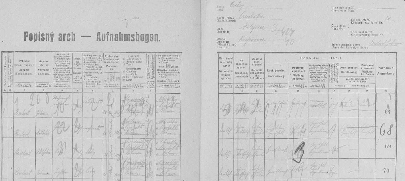 """Tady už začal problém: """"republikánský"""" sčítací komisař Mašek v roce 1921 v krejčovickém stavení čp. 20 rozepsal Reichartovy jako Reichertovy"""