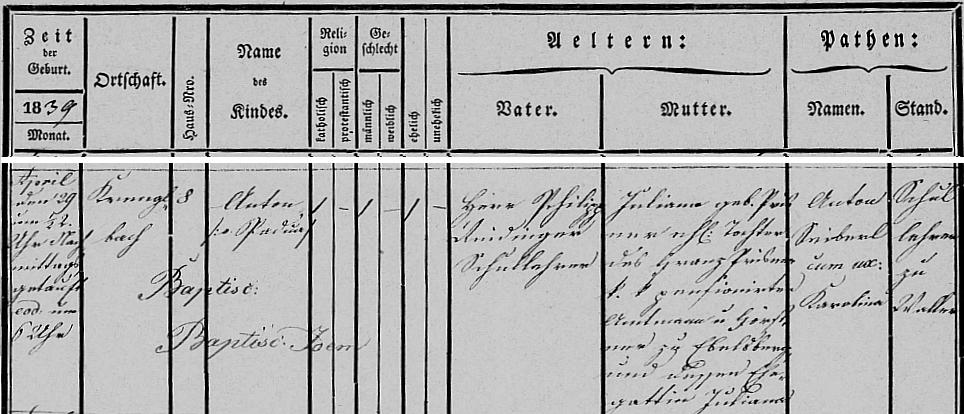 Záznam o jeho narození v křestní matrice hornorakouské farní obce Krenglbach