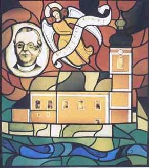 Na vitráži z kostela v Krenglbachu