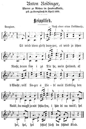 """Notový záznam """"Krippllied"""", tj. """"písně u jesliček"""""""