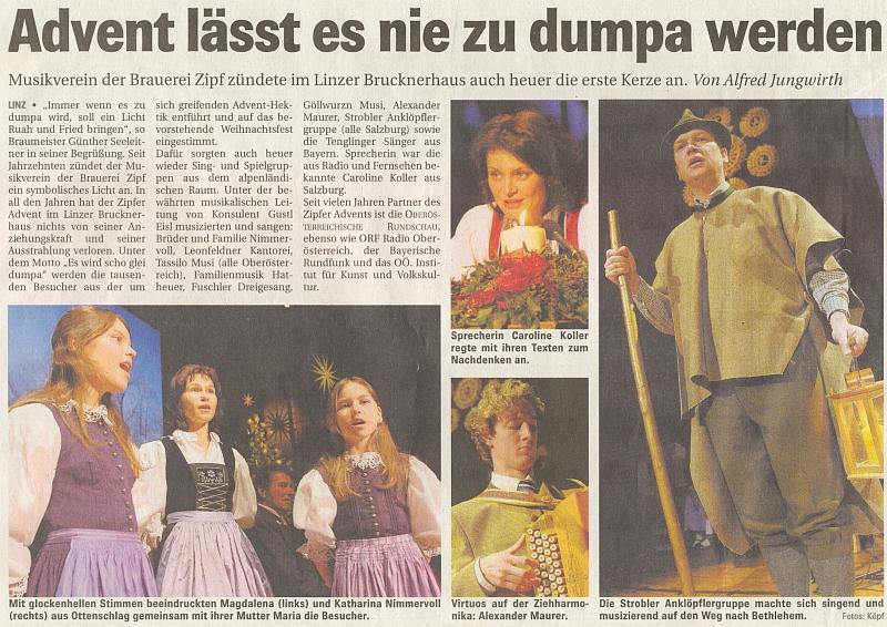 Už sám titulek článku o adventní slavnosti v lineckém Brucknerově domě svědčí o oblibě Reidingerovy písně, která byla přímo mottem celé akce