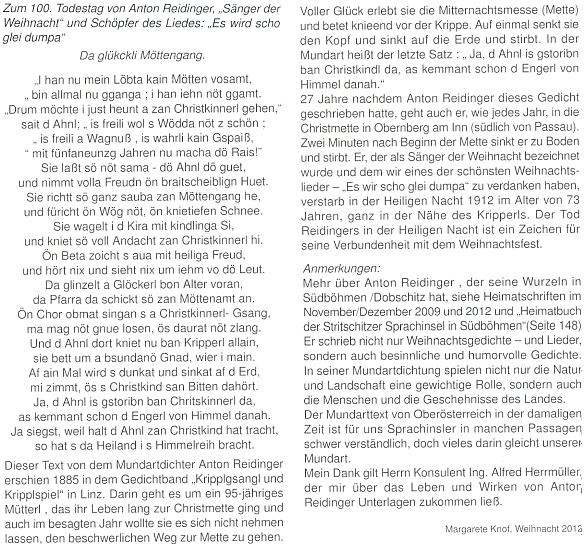 """Další text Margarete Knofové v krajanském měsíčníku k výročí jeho úmrtí s Reidingerovou nářeční básní o """"šťastné cestě na půlnoční"""""""