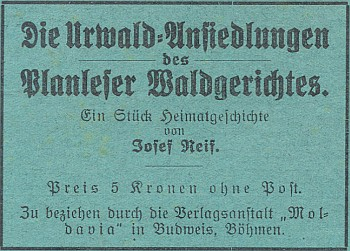 Inzerát (1928) na jeho knihu v časopise Waldheimat