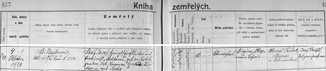 """Českobudějovická """"Kniha zemřelých"""" uvádí jako jeho povolání """"Hauptschriftleiter und Prokurist 'Moldavia'"""", tj. """"hlavní redaktor a prokurista (nakladatelství) 'Moldavia'"""""""