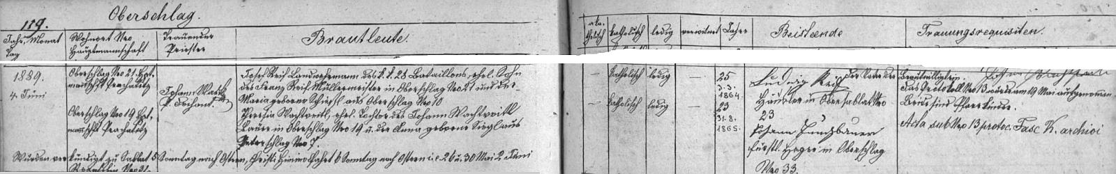 Josef Reif, narozený 3. března roku 1864, zeměbranec c.k. 28. batalionu, syn Franze Reifa, mlynáře v Milešicích čp. 21,  a Marie, roz. Schiestlové z Milešic čp. 10 si podle záznamu oddací matriky farní obce Záblatí bere 4. června roku 1899 ve zdejším kostele Stětí sv. Jana Křtitele za ženu budoucí matku svého syna Josefa na milešickém Wachtveitlově stavení čp. 19 Theresii, dne 31. srpna 1865 narozenou dceru rolníka v Milešicích čp. 19 Johanna Wachtveitla a Anny, roz. Sieglové ze zaniklých Petrovic (Peterschlag) čp. 7