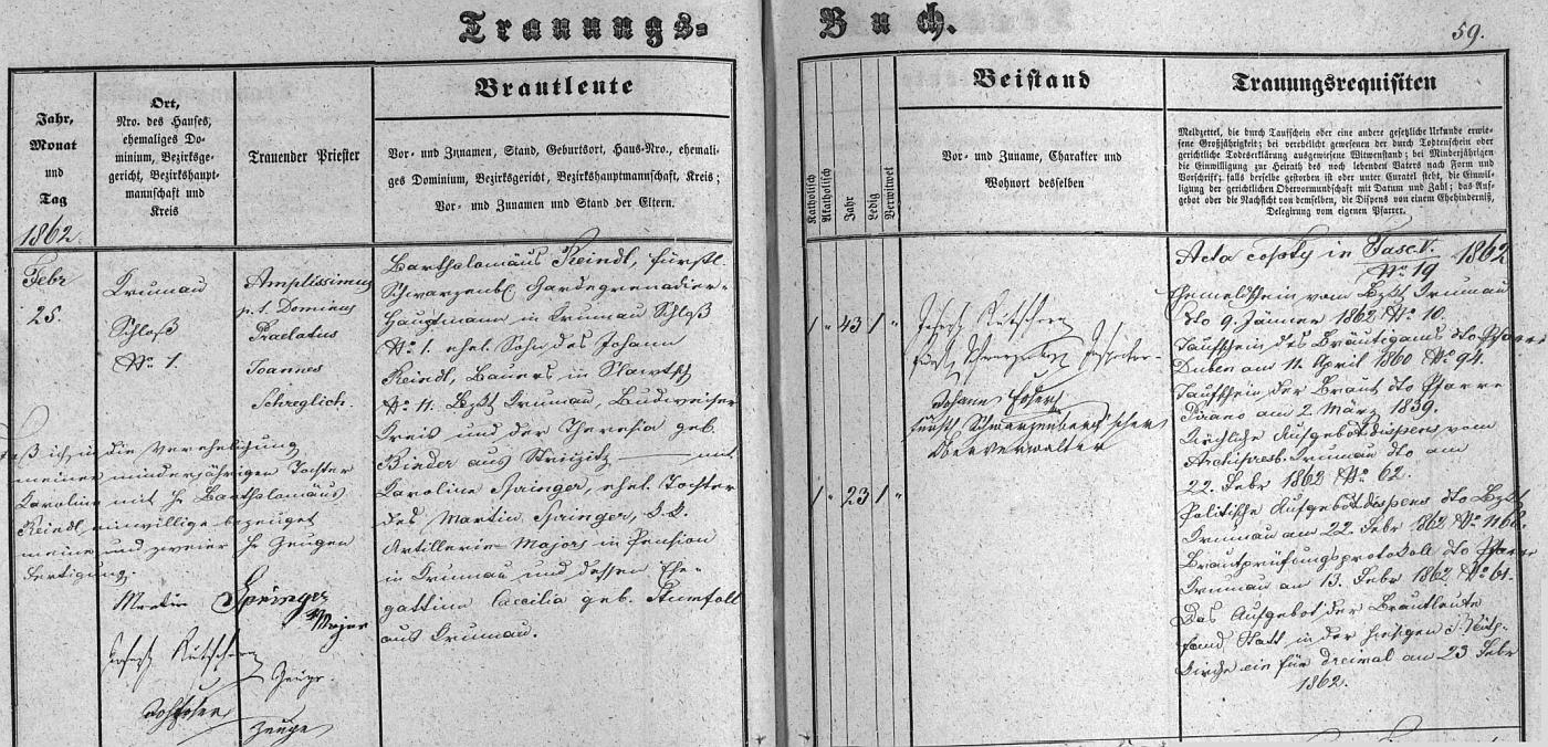 Záznam českokrumlovské oddací matriky o jeho svatbě