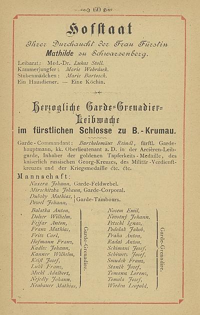 """Stránka schematismu schwarzenberského """"dvorního státu"""" s""""vévodskou"""" granátnickou tělesnou stráží"""