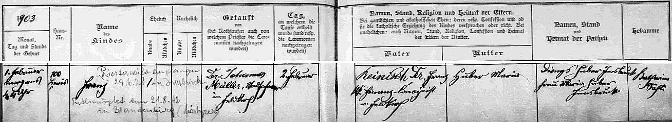 Záznam o jeho narození v křestní matrice farní obce Altenstadt ve Vorarlbersku s přípisy o jeho kněžském svěcení a úmrtí