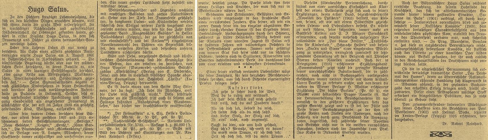 Jeho článek o Hugonu Salusovi na stránkách německého budějovického listu v roce 1920