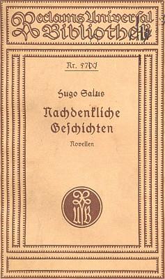 """Obálky dvou vydání jednoho ze svazků slavné """"Reclamky"""" s jeho předmluvou k novelám Hugo Saluse"""
