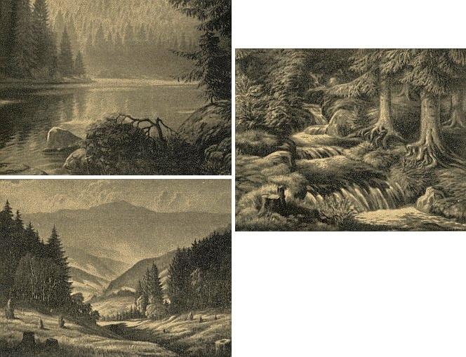 Černobílé reprodukce olejomaleb Williho Herziga se šumavskými náměty, o nichž Reinhard referuje ve svém textu