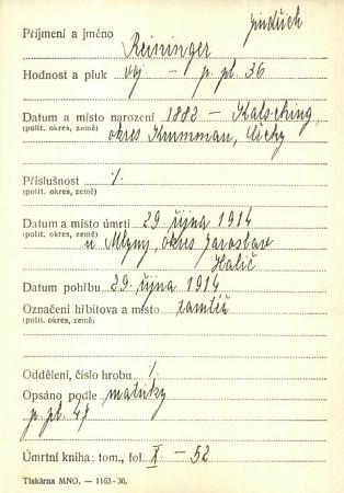 Záznam o jeho úmrtí v kartotéce padlých v 1. světové válce