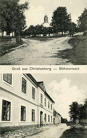 Na pohlednici W. Winklera z Volar je zachycen křišťanovský kostel aškola