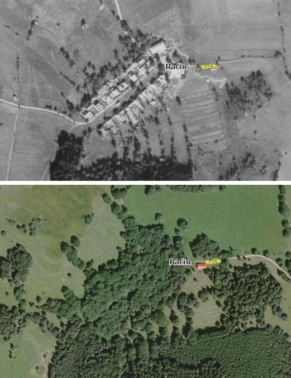 Račín na leteckých snímcích z roku 1952 a ze současnosti